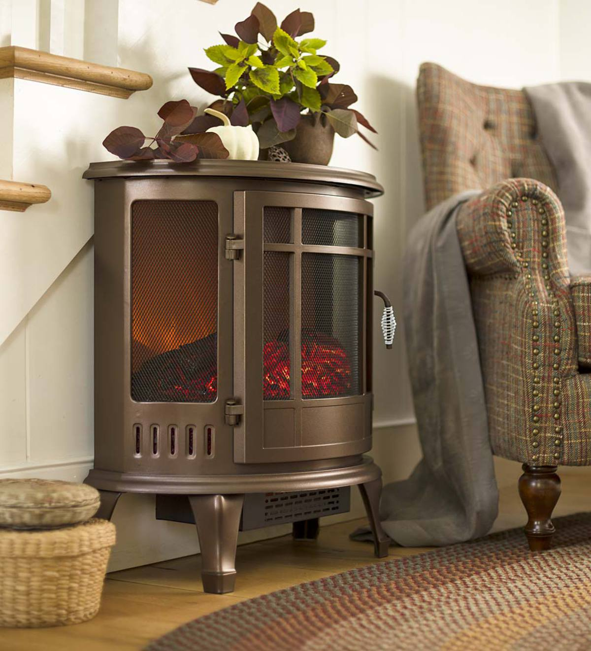 Curved Electric Wood Stove Heater Plowhearth