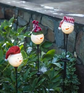 Solar Snowman Glass Garden Stakes, Set of 3