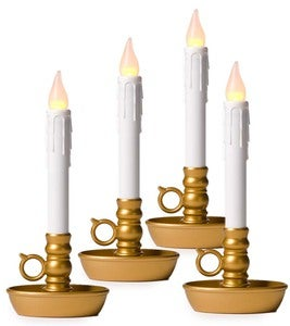 4-Pack Battery-Operated Single Window LED Window Candles - Antique Gold