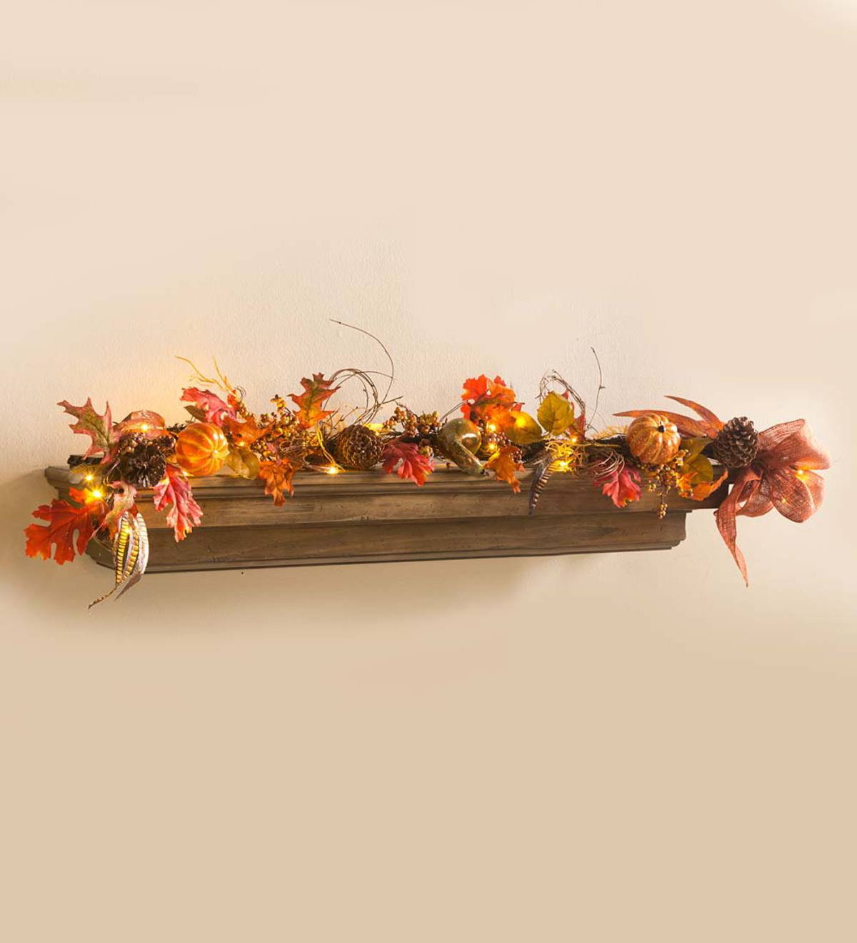 5 Lighted Fall Harvest Indoor Garland Plowhearth