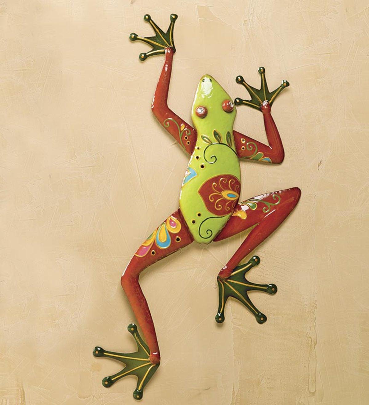 Talavera Painted Metal Frog Wall Art   PlowHearth