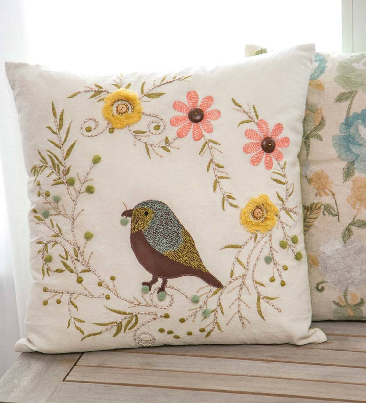 Embroidered Bird And Flowers Throw Pillow Plowhearth