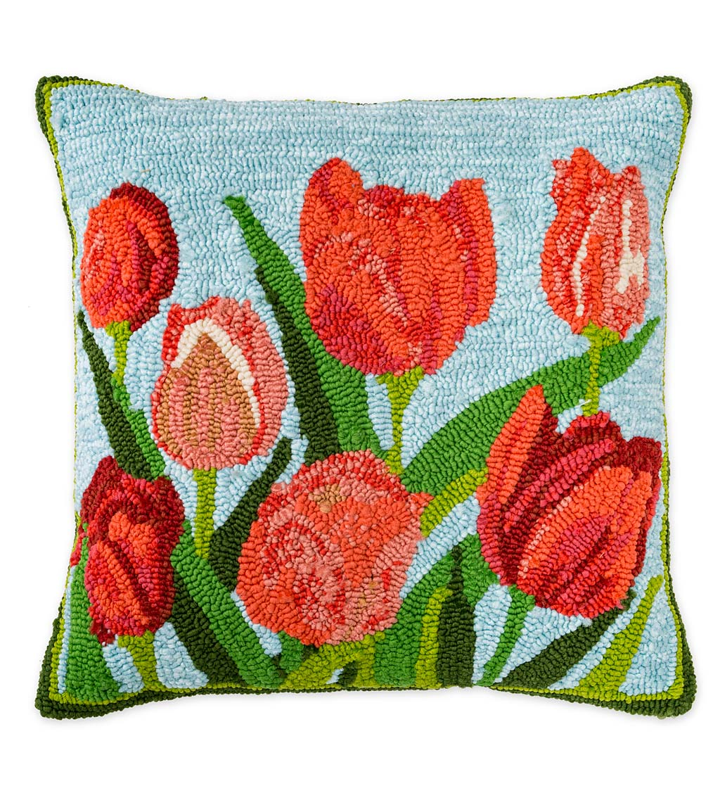 Indoor/Outdoor Pink Tulips Hooked Polypropylene Throw Pillow