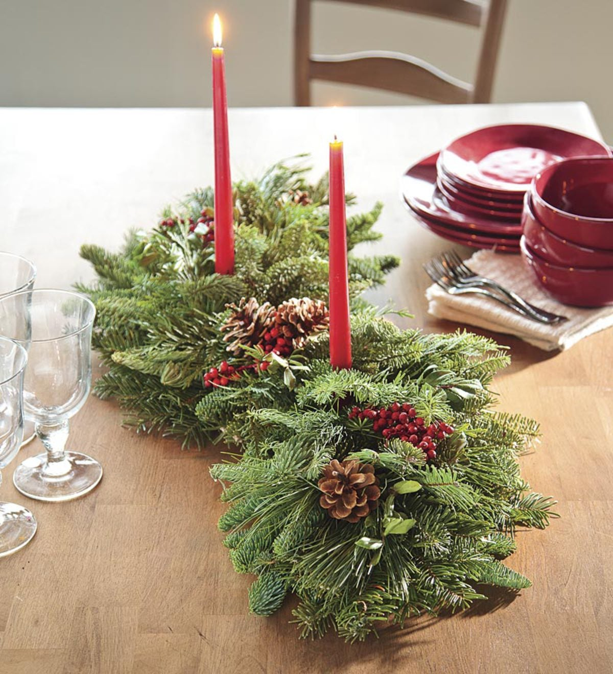 Holiday Woodland Evergreens Centerpiece With Two Candles