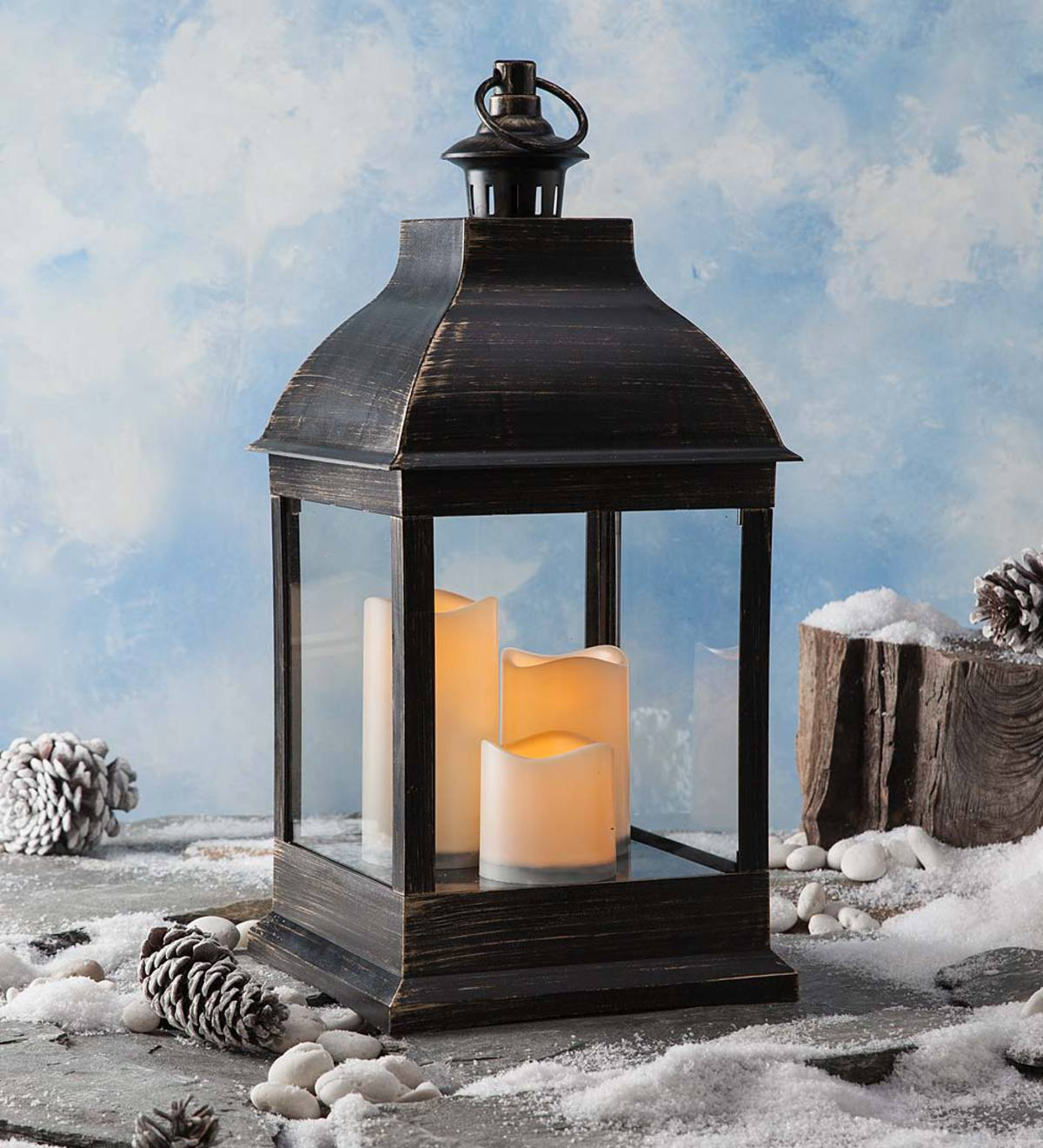 Short Outdoor Lantern with LED Candles