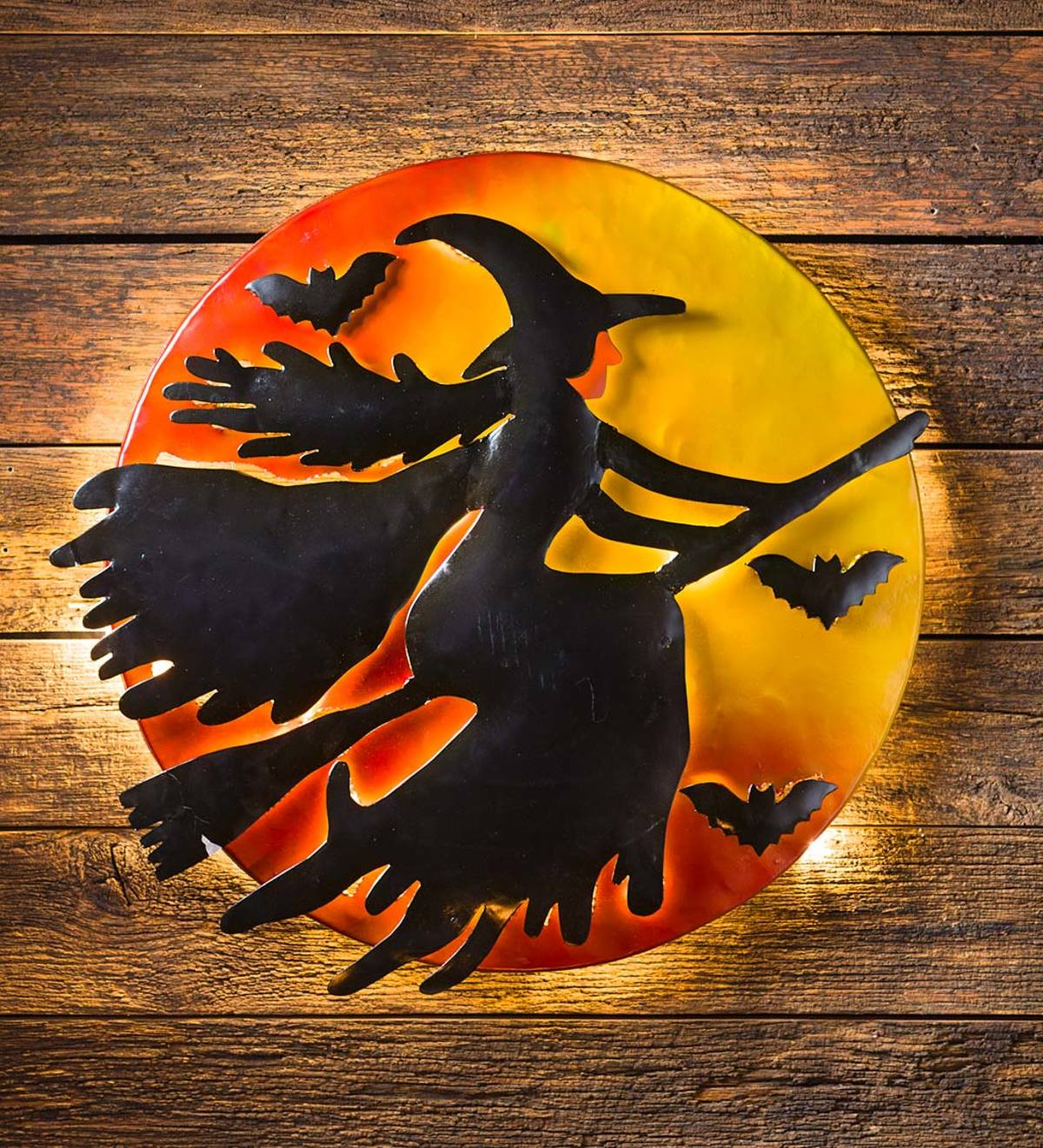 3D Lighted Flying Witch Recycled Oil Drum Lid Wall Art