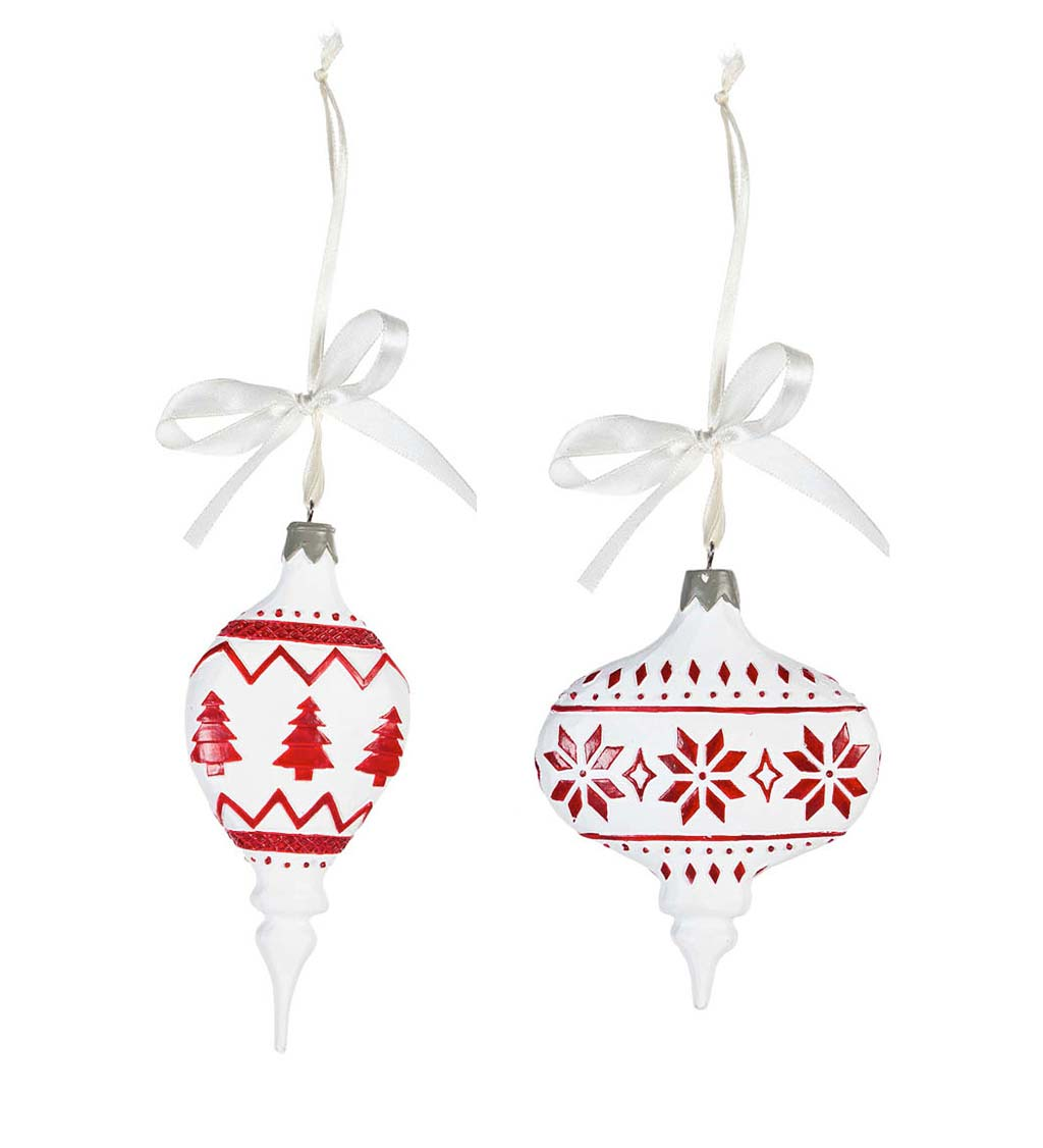 Red and White Festive Ornaments, Set of 2
