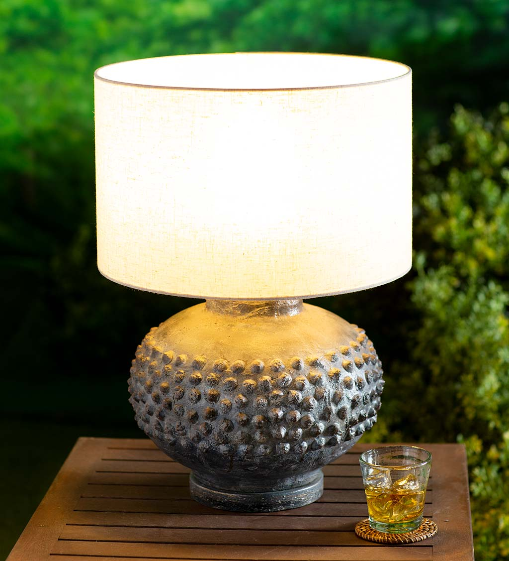 Outdoor Slate Color Table Lamp With Weather Resistant Shade
