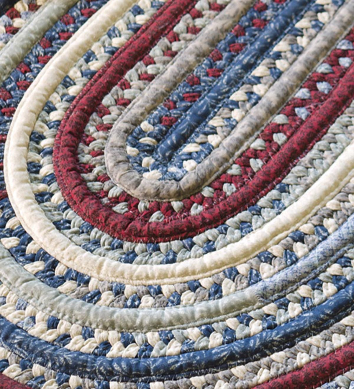 Oval Braided Runner, 2'W x 8'L - Red/White/Blue