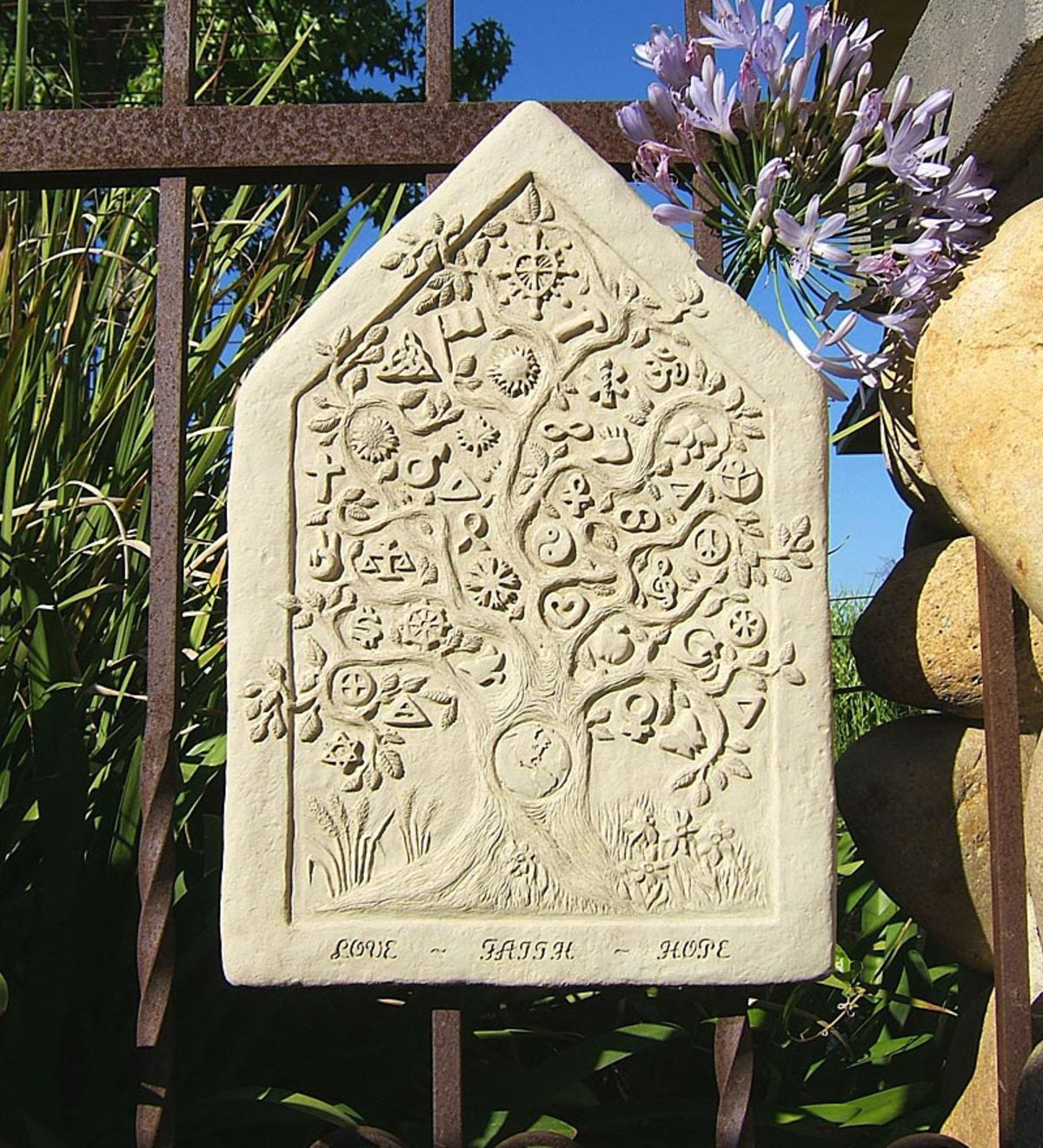 Made In USA Cast-Stone One Earth Tablet Wall Hanging by Michael Gentilucci