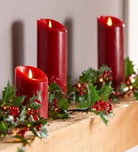 Indoor/Outdoor Holly and Berry Lighted Holiday Garland