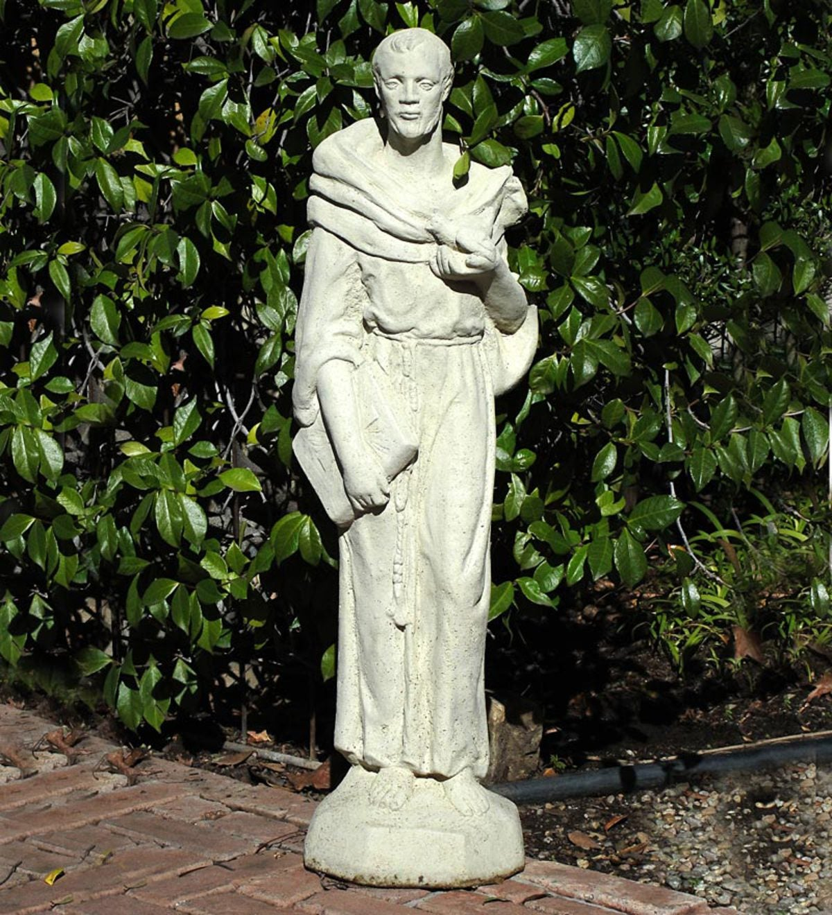 Old Garden Statue: USA-Made Cast Stone Tall Vintage St. Francis Garden Statue