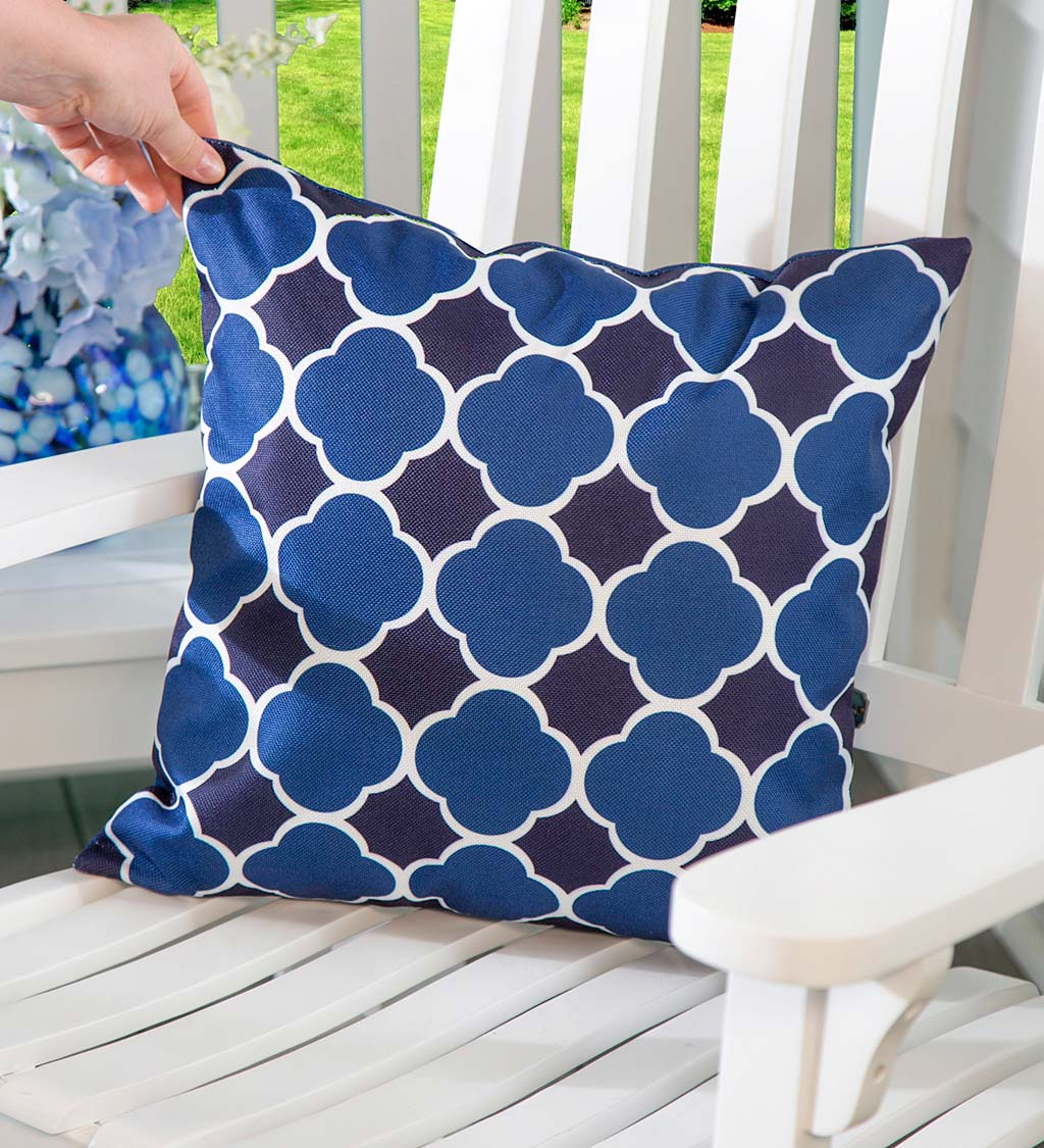 Indoor/Outdoor Reversible Hydrangea and Lattice Throw Pillow Replacement Cover