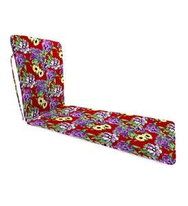 "Sale Polyester Classic Chaise Cushion With Ties, 77""x 23½""x 2½""hinged 47½""from bottom - Fiesta Stripe"