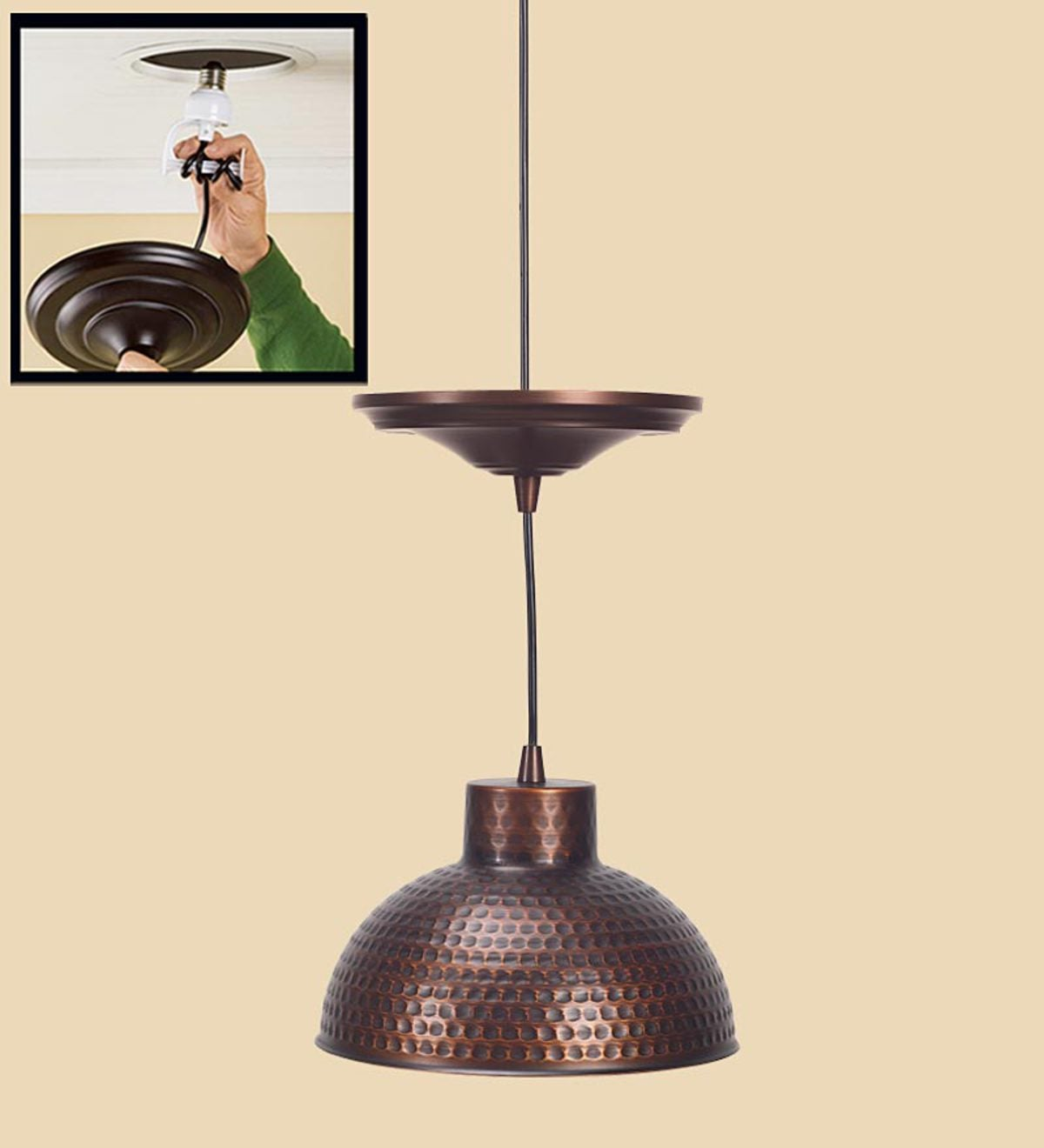 In Antique Pendant Lighting With Adjule Cord Hammered Copper