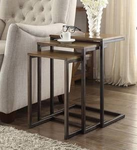3-Piece Industrial Style Rectangular Metal and Wood Nesting Tables