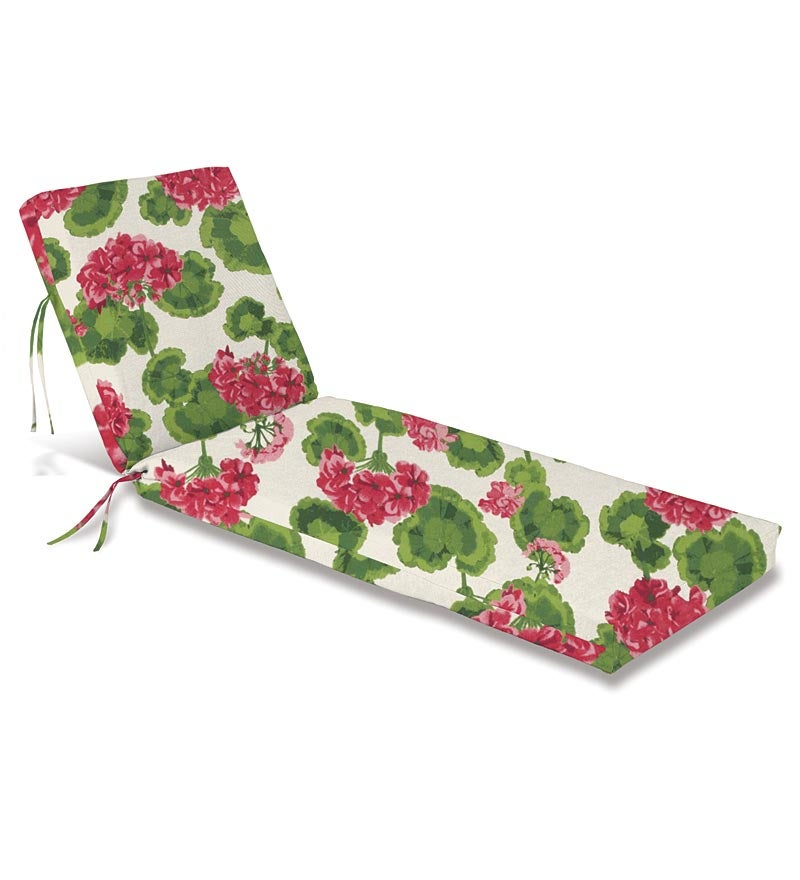 "Polyester Classic Chaise Cushion With Ties, 76""x 23""x 3""hinged 47½""from bottom"