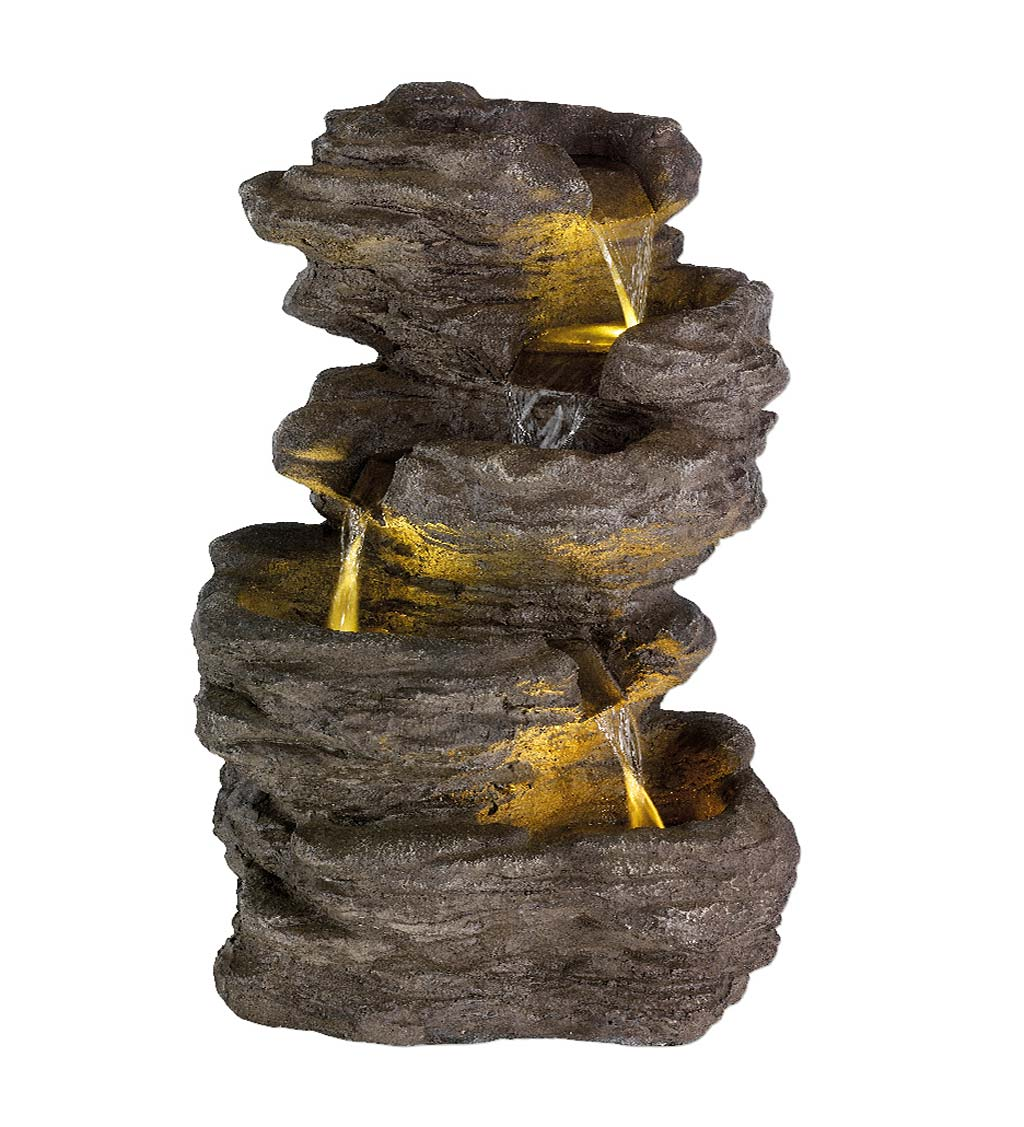Lighted 5-Tier Rock Water Fountain