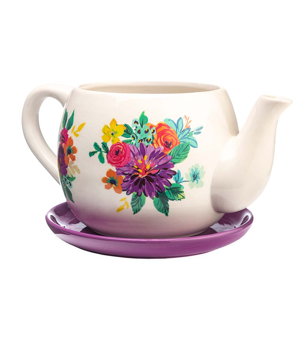 Indoor/Outdoor Ceramic Floral Tea Pot Planter with Saucer swatch image