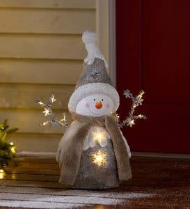 Indoor/Outdoor Holiday Lighted Woodland Snowman Statue