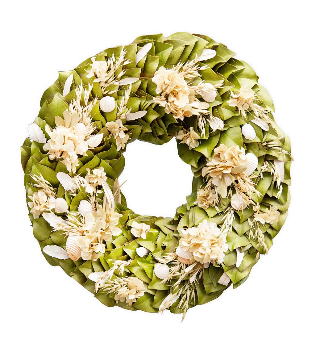 "Handcrafted 18"" Coastal Breeze Magnolia and Seashell Wreath"