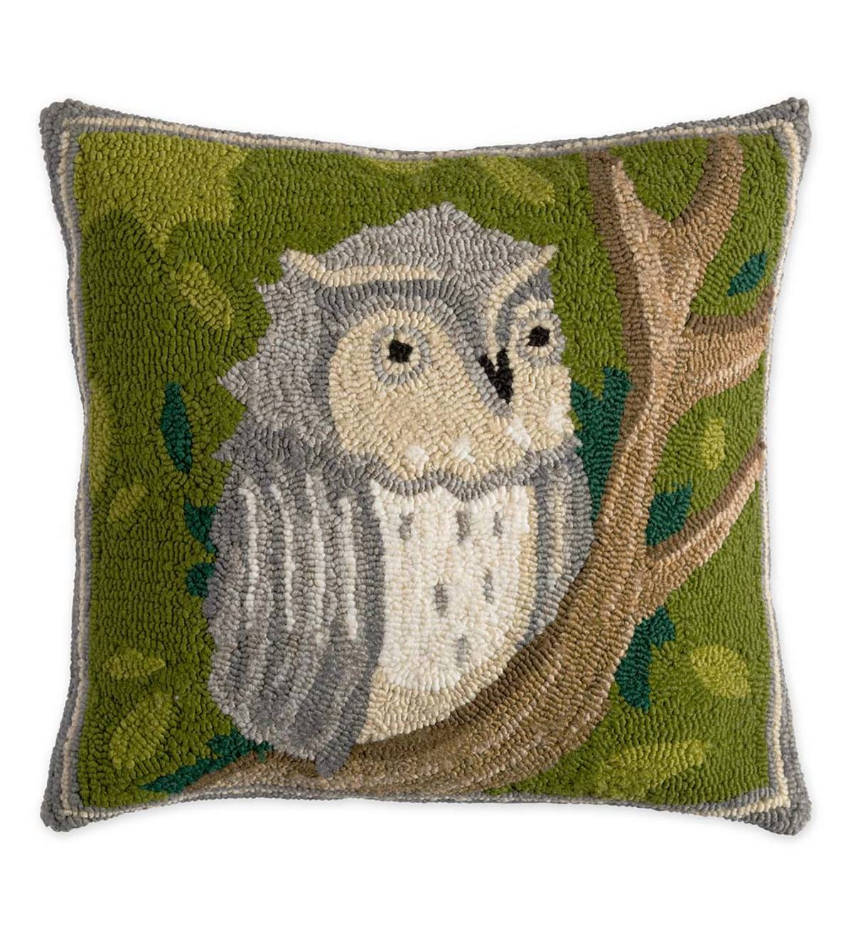 Indoor/Outdoor Springtime Forest Hooked Owl Pillow