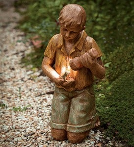 Solar Garden Statue Boy With Flashlight And Frog