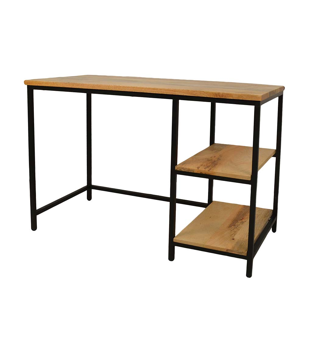 Industrial-Style Wood and Metal Desk with Shelves