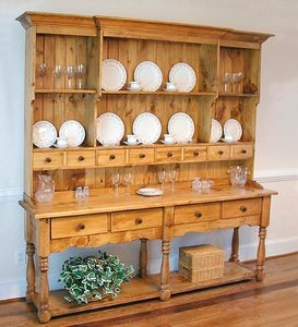 Made in USA Handcrafted Wood French Farmhouse Wide Hutch - Avocado