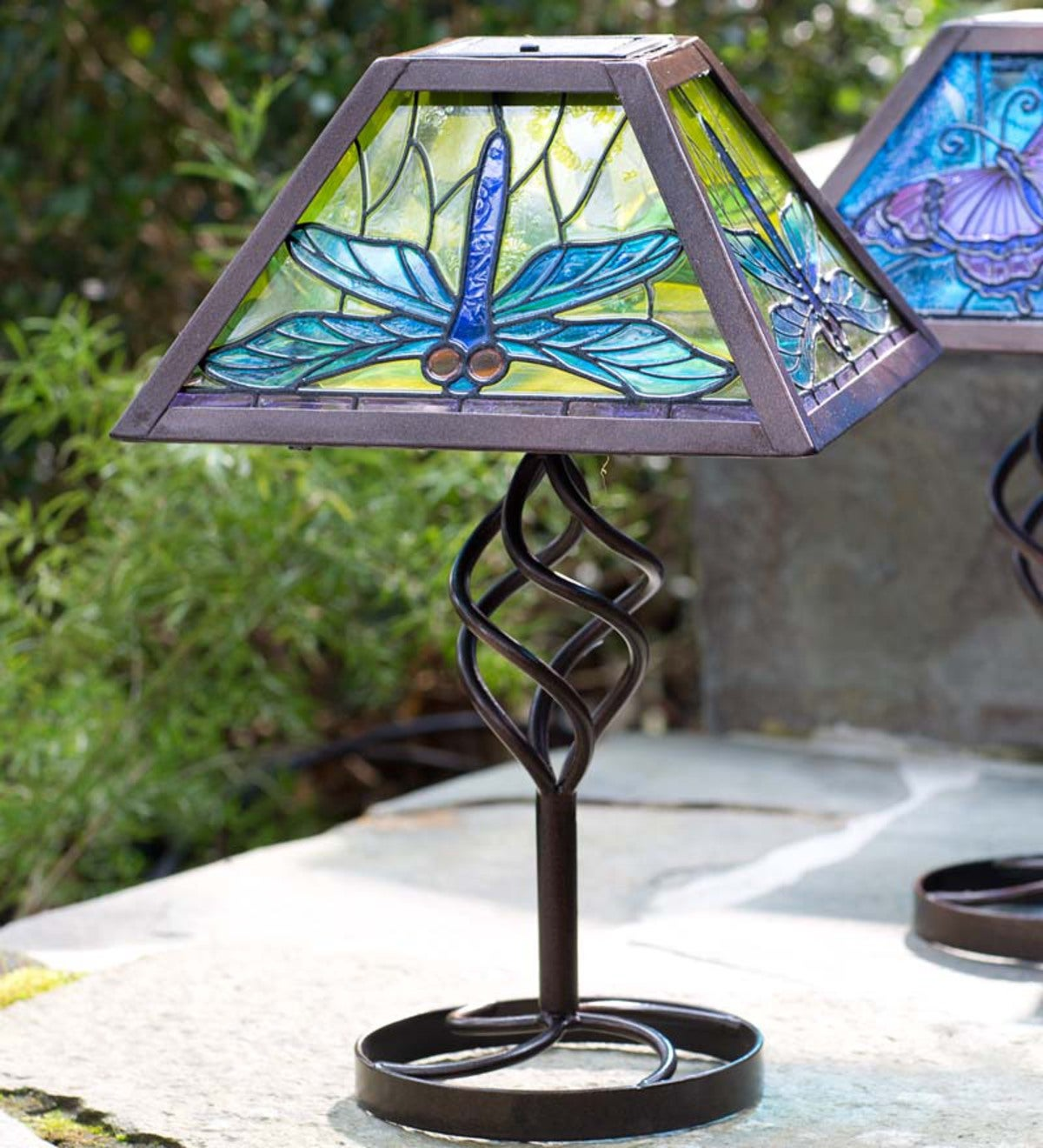 Tiffany Style Solar Outdoor Table Accent Lamp Dragonfly