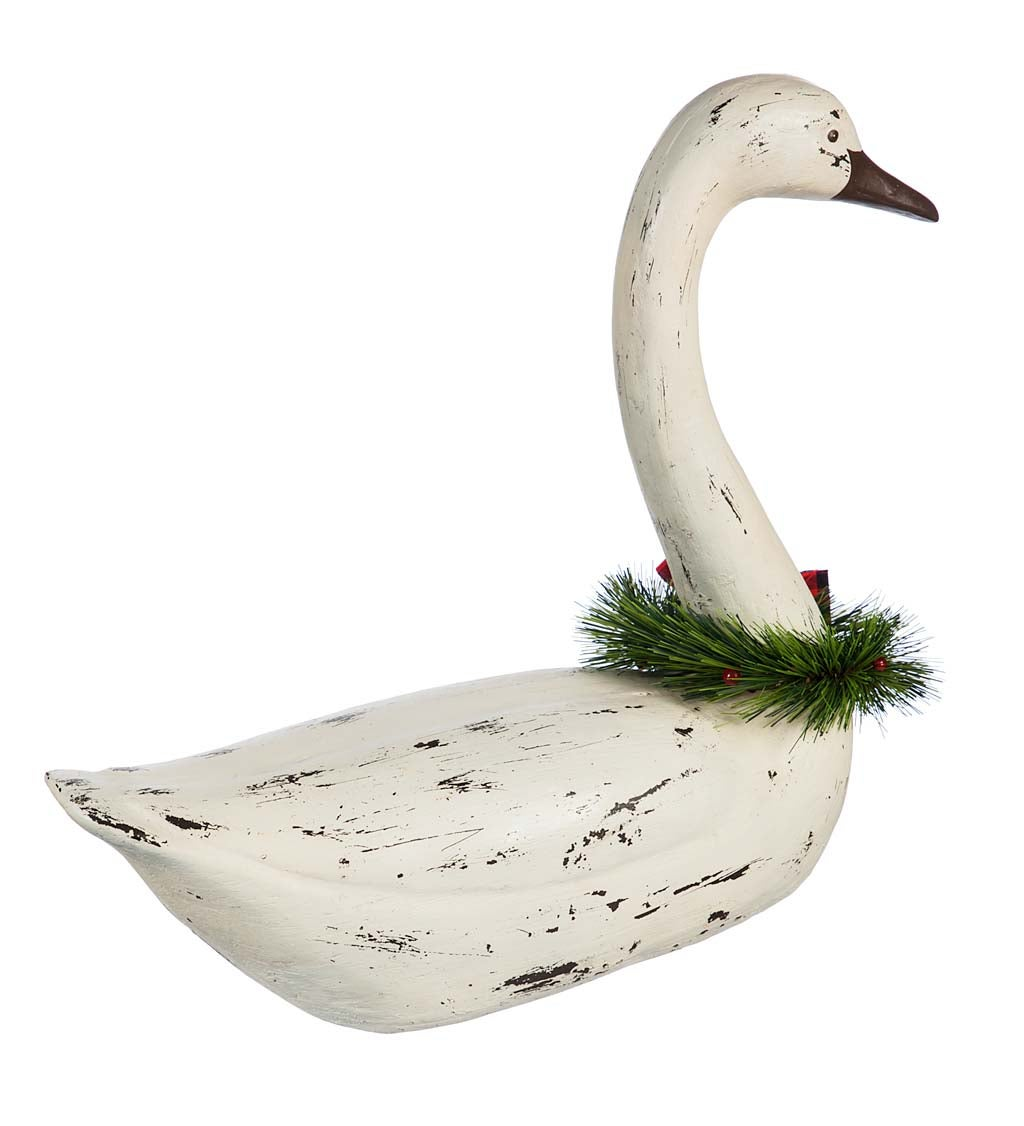 Holiday Swan Statuary, Set of 2