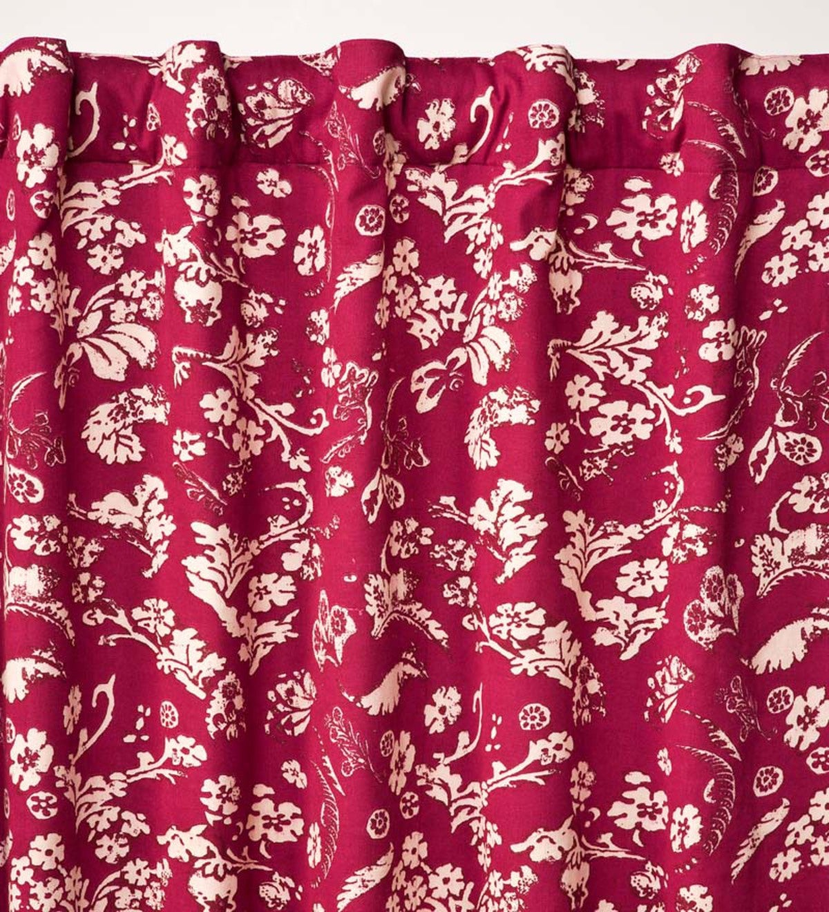 "42""W x 14""L Floral Damask Rod-Pocket Homespun Insulated Curtain Valance"