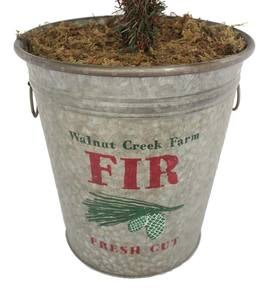Vintage 6' Artificial Tree in Galvanized Metal Bucket