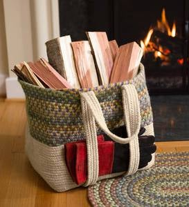 Braided Wool Hearth Bag Log Carrier