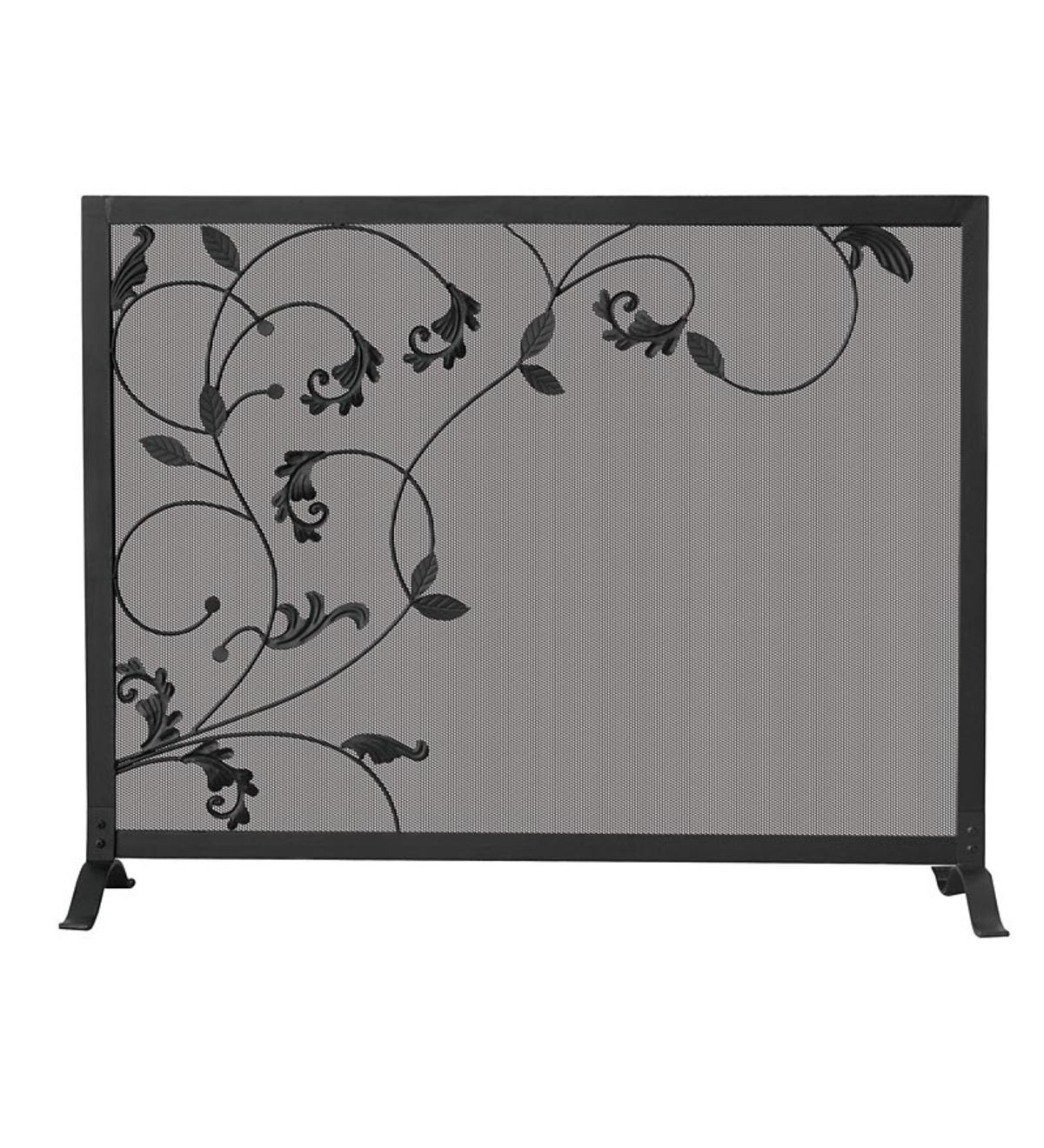 Black Wrought Iron Single Panel Fireplace Screen with Flowing Leaf Design - Black