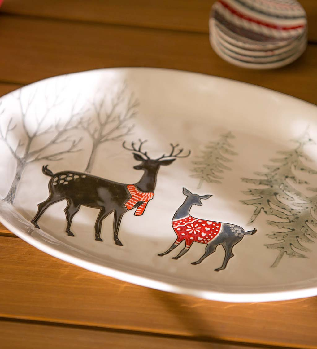 Winter Wonderland Deer Ceramic Holiday Platter