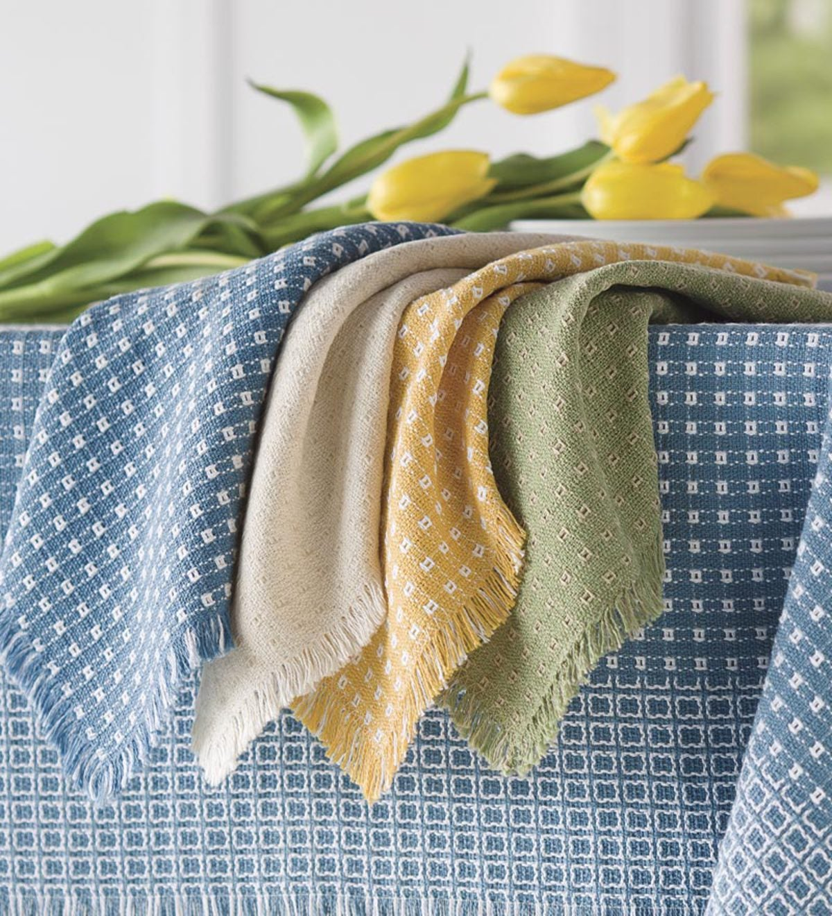 Homespun-Cotton Reversible Napkins, Set Of 4