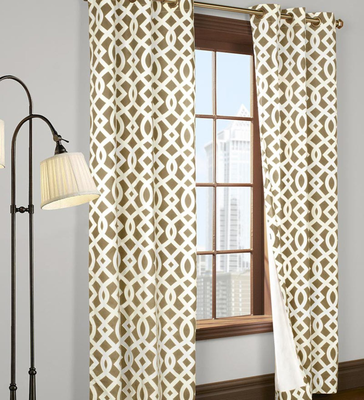 "63""L Thermalogic™ Trellis Grommet-Top Insulated Curtains - Khaki"
