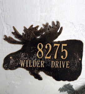 American-Made Moose Silhouette Address Plaque In Cast Aluminum
