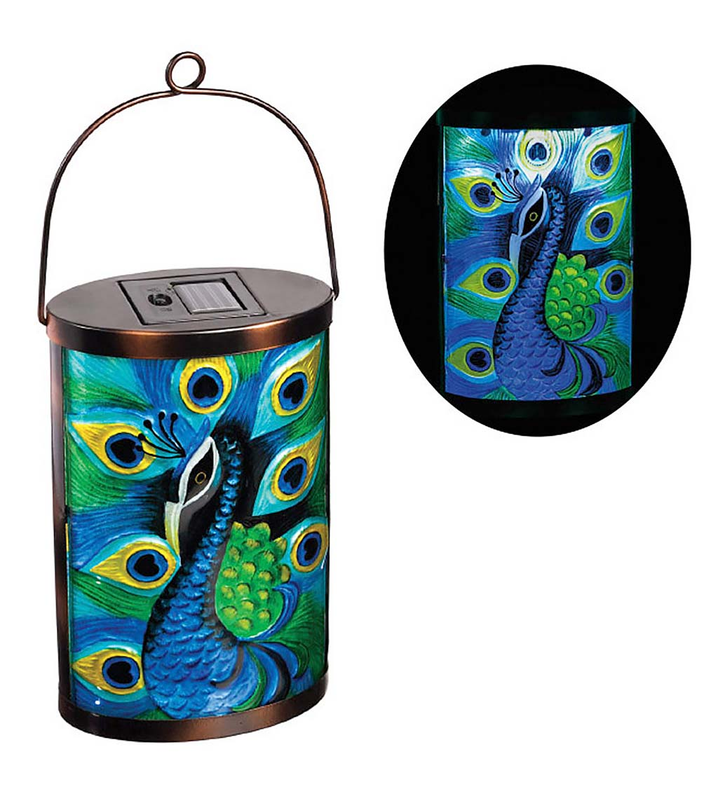 Peacock Solar Glass Lantern