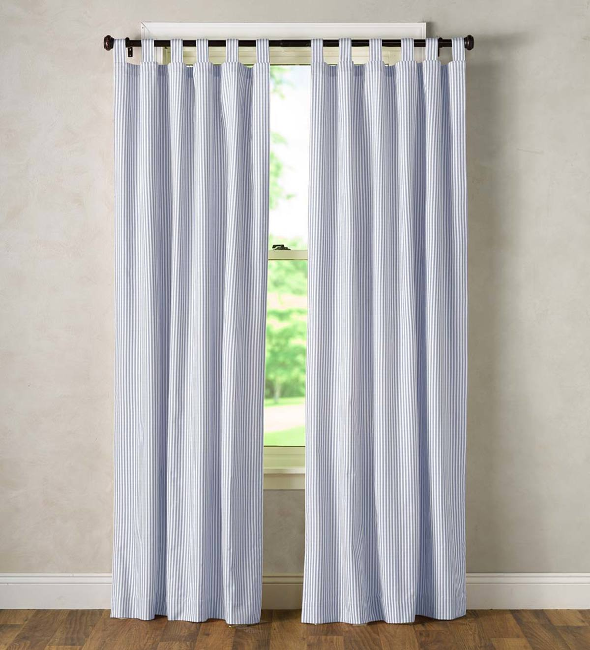 "Thermalogic Insulated Ticking Stripe Tab Top Curtain Pair, 84""L Double-Width"