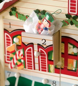 Bavarian Style Santa's Visit Advent Calendar With 24 Ornaments