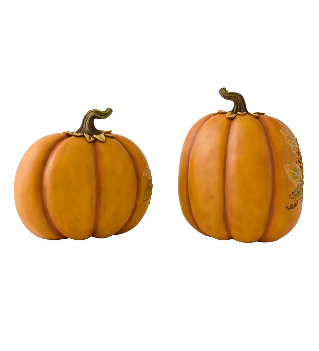 Carved Pumpkins with Sunflowers, Set of 2