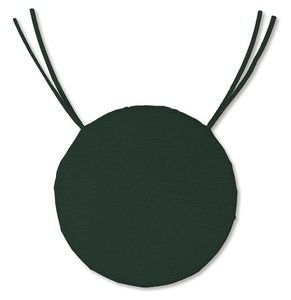 "Polyester Classic Round Chair Cushion With Ties, 16""x 2"" - Forest Green"
