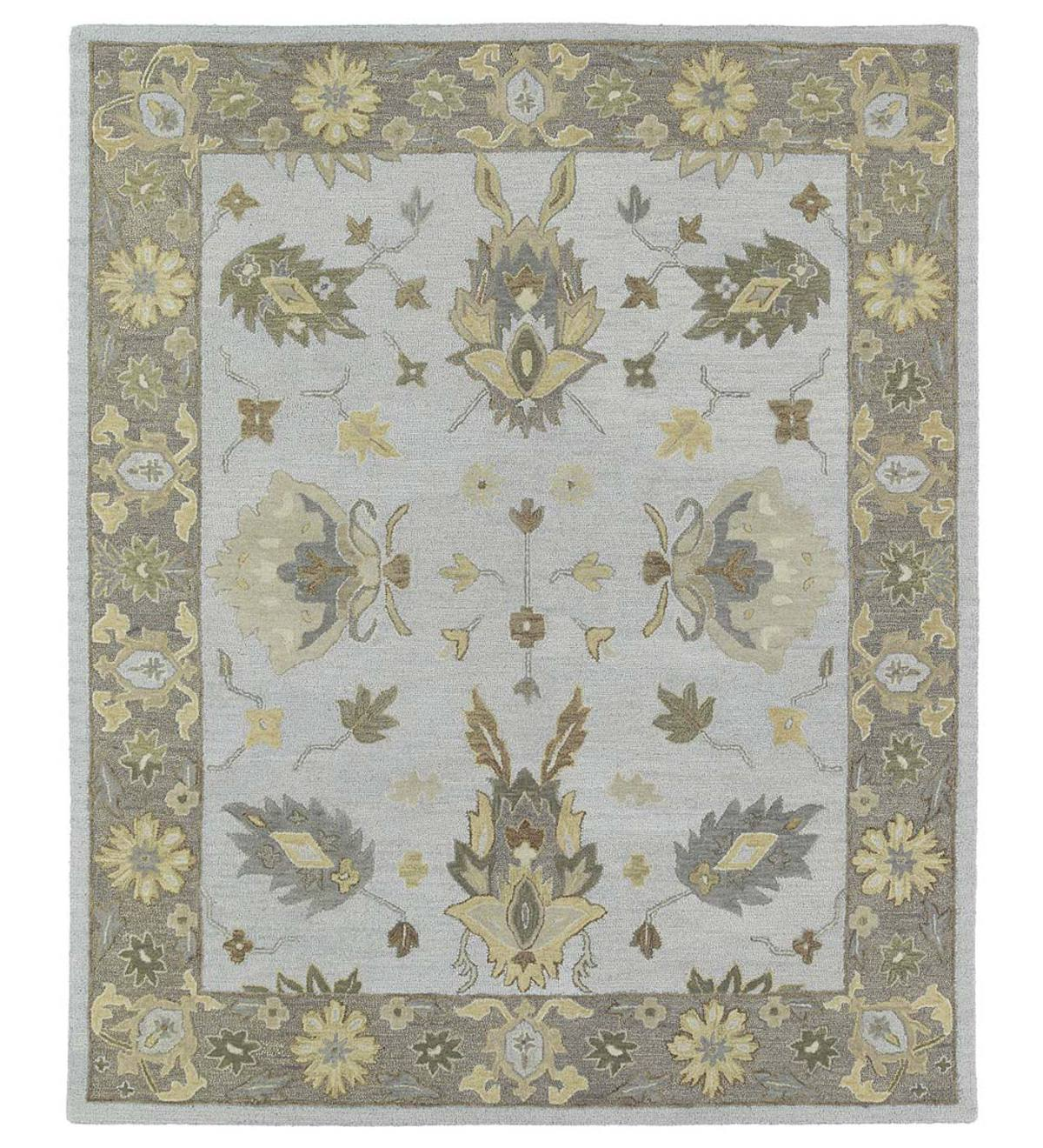 Baroque Border Silver Wool Rugs