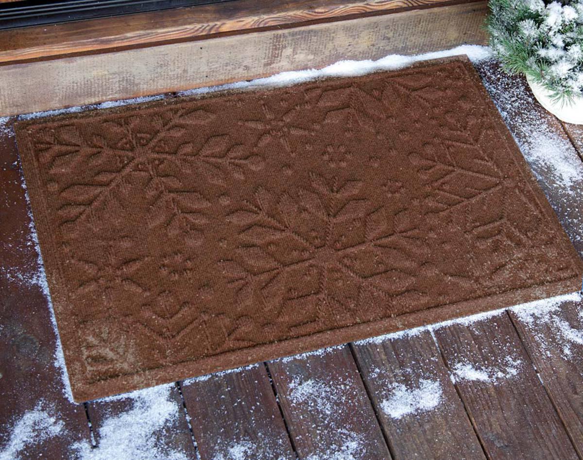 Waterhog Snowflake Doormat   Dark Brown