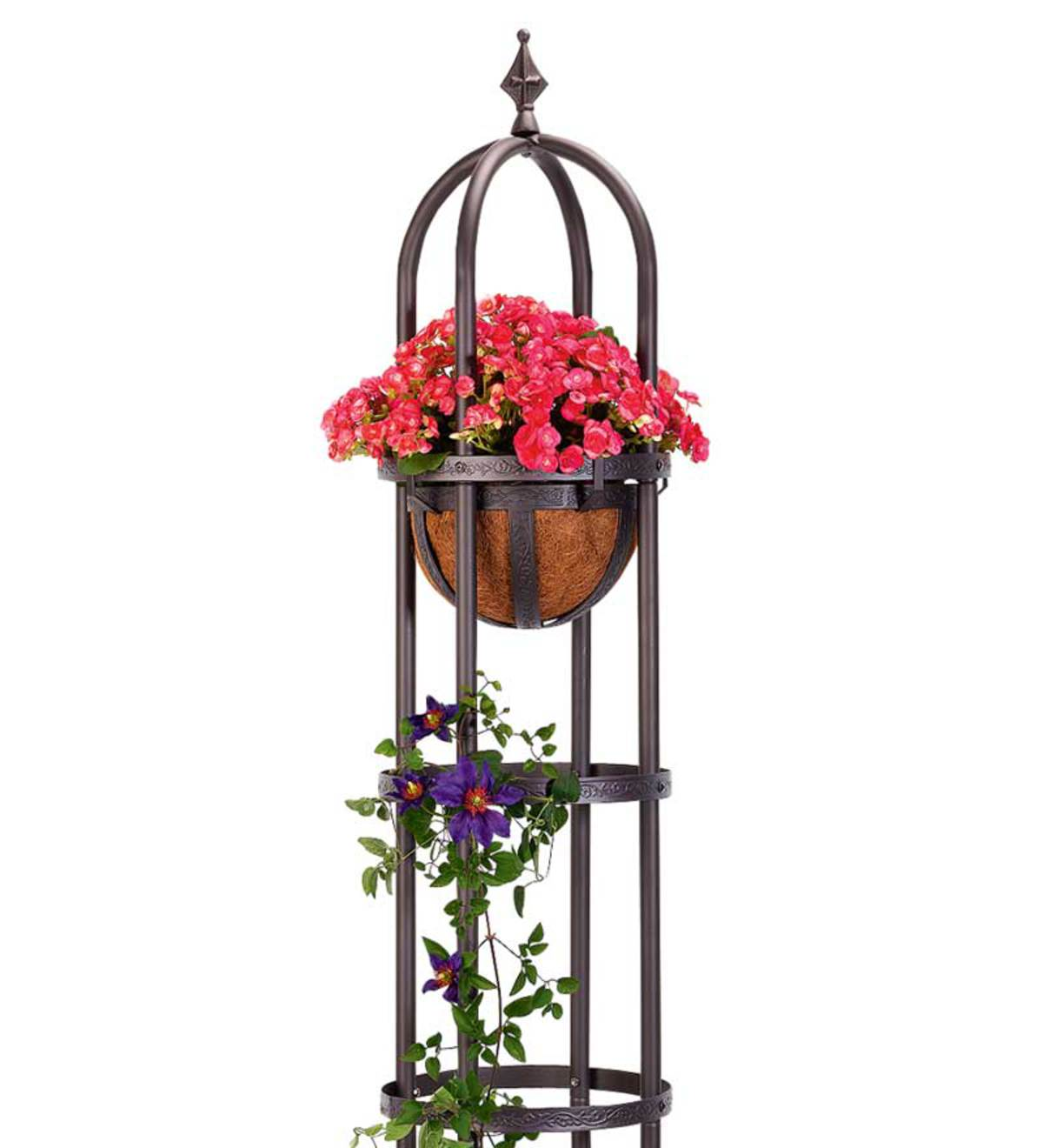 Powder-Coated Steel Basket Planter with Coco Liner - BRONZE
