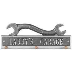 American-Made Personalized Wrench Hook Plaque In Cast Aluminum