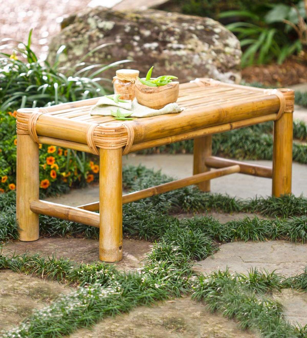 Bamboo Outdoor Bench Plowhearth