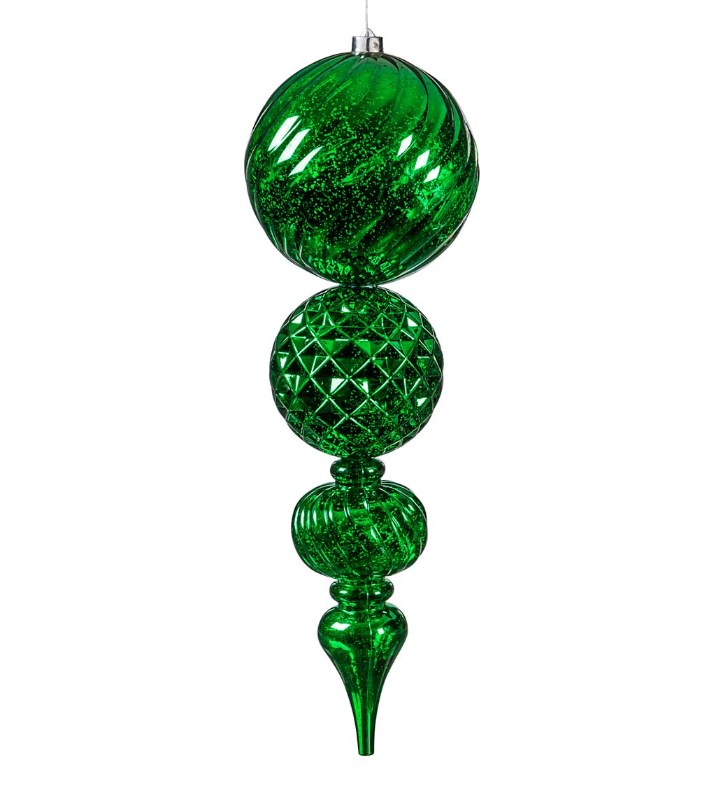 "24""L Indoor/Outdoor Shatterproof Lighted Holiday Finial Ornaments, Set of 2"